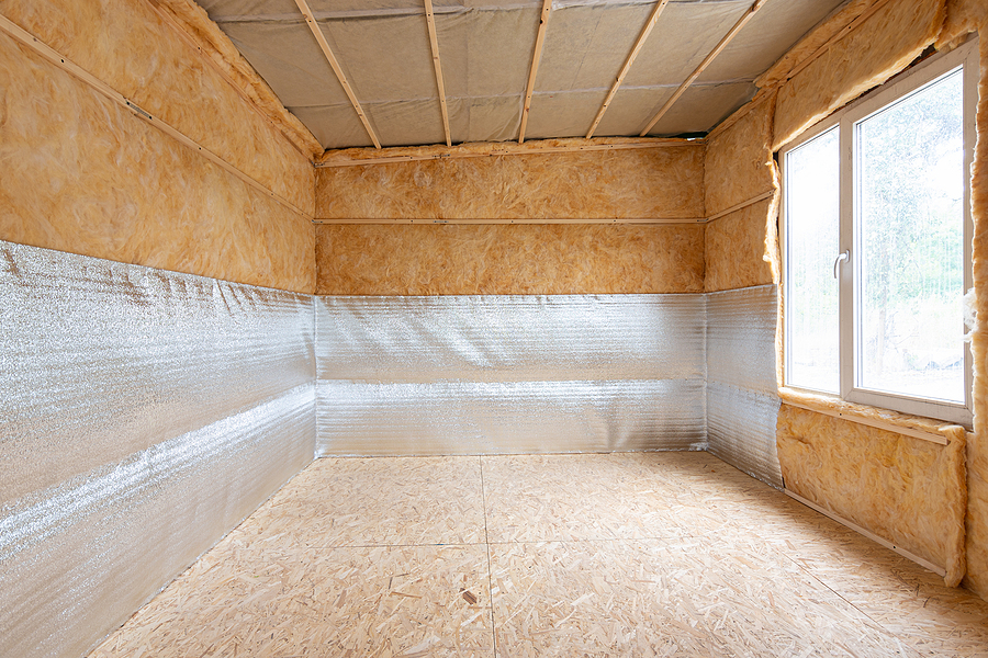interior of a country house, a heat-insulating layer of reflective polyethylene foam laminated with lavsan when insulating a house